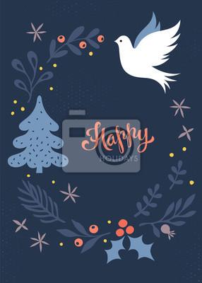 Bożenarodzeniowy kartka z pozdrowieniami. Projekt wakacji zimowych.