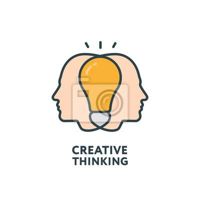 Brainstorm Collective Thinking Kreatywna Minimalistyczna Kolorowa Linia Linii Zarysowania Ikona Stroke Piktogram Zestaw Zestawów Symbolów