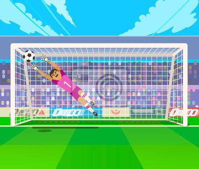 Bramkarz skacze na piłkę. Wektorowa ilustracja skacze dla piłki bramkarz podczas gdy bawić się piłkę nożną.