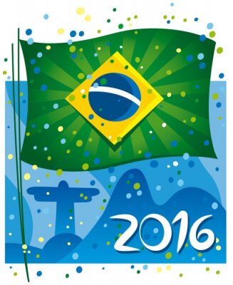 Naklejka Brazil flag celebrating the new year in wonderful city