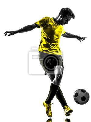 Brazilian soccer piłkarz młody człowiek dryblingu sylwetka
