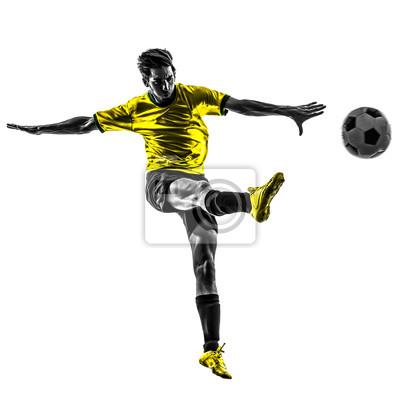 Brazilian soccer piłkarz młody człowiek kopanie sylwetkę