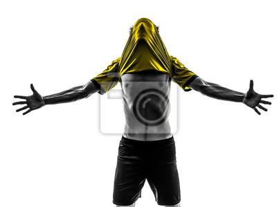 Brazilian soccer piłkarz młody mężczyzna radość szczęście silhoue