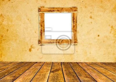 brązowy drewno wnętrze pokoju z ramy obrazu. Drewniane tle