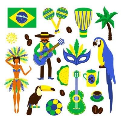 Naklejka Brazylia dekoracyjne zestaw