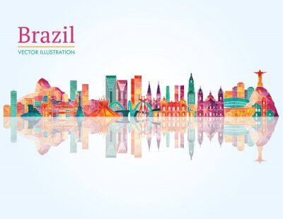 Naklejka Brazylia Landmark skyline. ilustracji wektorowych
