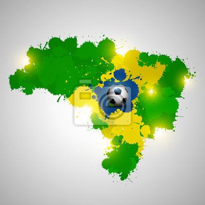 Brazylia map bełkotać z piłką