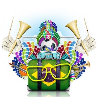 Naklejka Brazylia, mistrzostwa w piłce nożnej na świecie, festiwal i karnawał