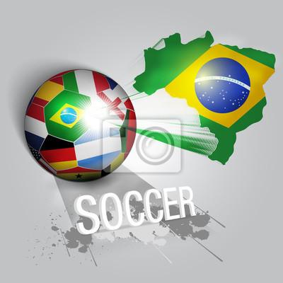 brazylia piłka nożna z flag świata drużyn