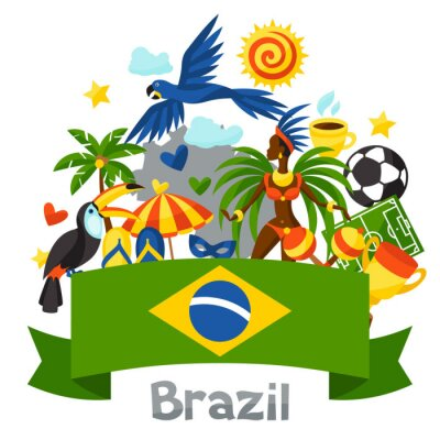 Naklejka Brazylia tle stylizowane obiektów i symboli kulturowych