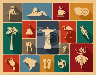 Naklejka Brazylijska ikony