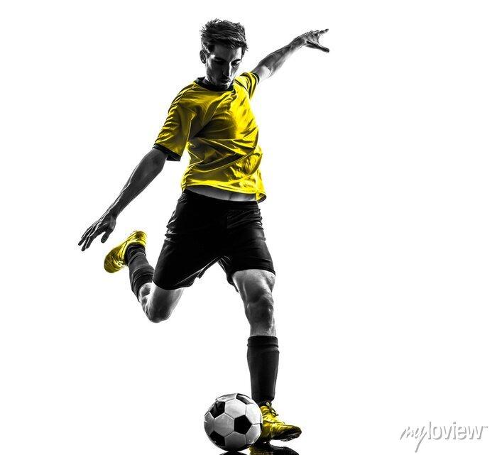 Naklejka brazylijski piłkarz kopanie piłki nożnej sylwetka młody człowiek