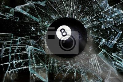 Breaking Eight Ball through glass.