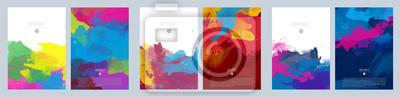 Naklejka Bright colorful vector paint splash background template set for brochure, poster or flyer