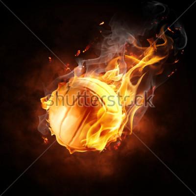 Naklejka bright flamy symbol on the black background