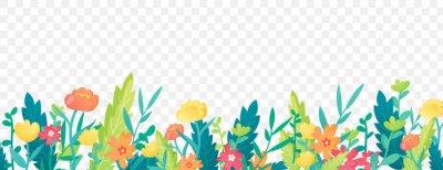 Naklejka Bright floral border on transparent background.