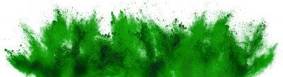 Naklejka bright green holi paint color powder festival explosion isolated white background. industrial print concept background