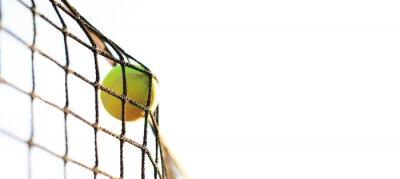 Naklejka Bright greenish yellow tennis ball hitting the net.