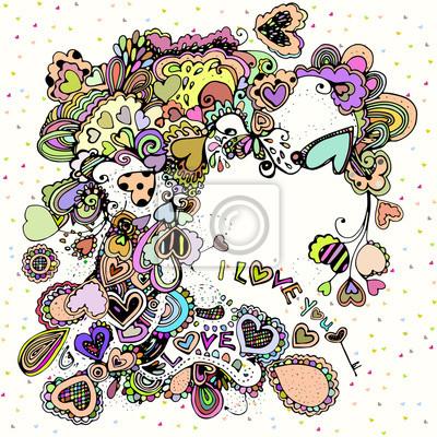 Bright ilustracji z kolorowych serc.