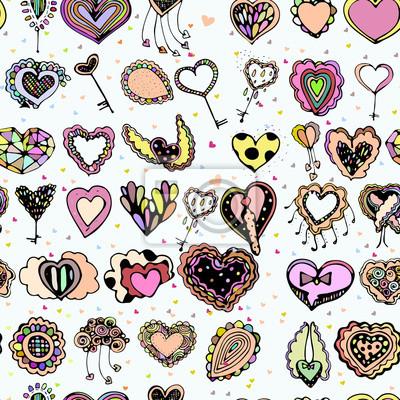 Bright kolorowy obraz ikon z serca.