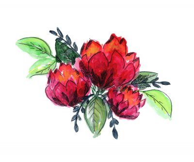 Naklejka Bright watercolor red and green floral bouquet. Color painting composition with ink pen outline pink roses or peonies flowers and fresh leaves for invitation, wedding, greeting cards design, sticker