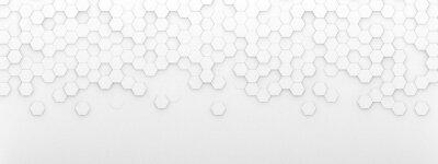 Naklejka Bright white abstract hexagon wallpaper or background - 3d render