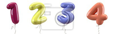 Naklejka Brilliant balloons font number 1, 2, 3, 4 made of realistic elastic color rubber balloon. 3D illustration for your extraordinary balloon decoration in several concepts idea in many occasions