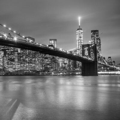 Naklejka Brooklyn Bridge na zmierzchu, New York City.