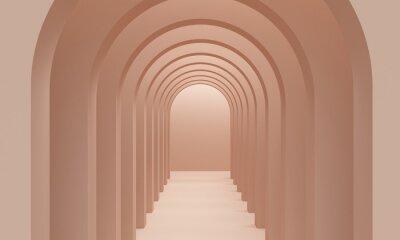 Brown corridor arch with overhead lighting. 3d rendering