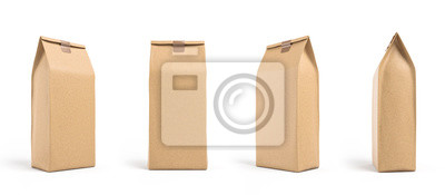 Naklejka Brown paper bag packaging template isolated on white background. Front and back view