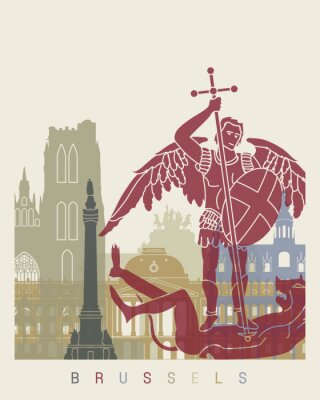 Naklejka Bruksela skyline plakat