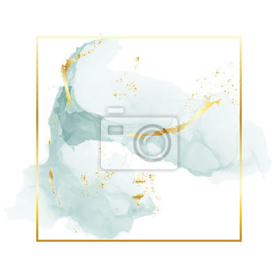 Naklejka Brush grey blue strokes in gentle tones and gold foil rectangle frame on a white background. Vector watercolor art