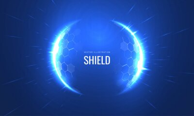 Naklejka Bubble shield futurictic vector illustration on a blue background. Dome geometric in the form of an energy shield in an abstract glowing style. Cover concept in technological game style