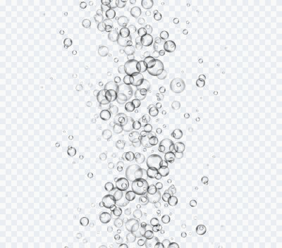 Bubbles underwater spiral texture isolated on transparent background. Vector pure gas, air or oxygen balls under water. Realistic soda effect elements