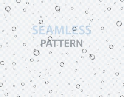 Bubbles underwater texture isolated on transparent background. Vector fizzy air, gas or oxygen under water seamless pattern. Realistic champagne drink, soda effect template.