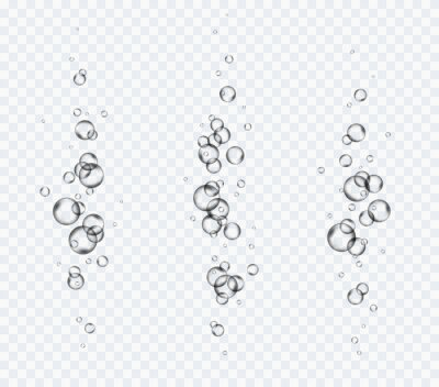 Bubbles underwater texture set isolated on transparent background. Vector fizzy air, gas or oxygen under water. Realistic champagne drink, soda effect template.