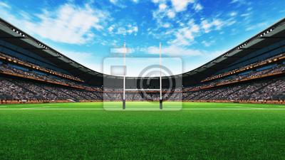 budowa stadionu rugby z zielonej trawie na światło dzienne