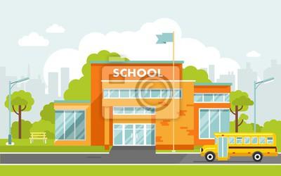 Naklejka Budynek szkoły w stylu płaskiej.