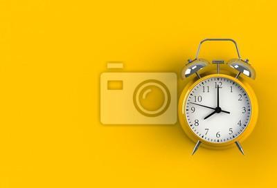 Naklejka Budzik na żółtym tle, renderingu 3D