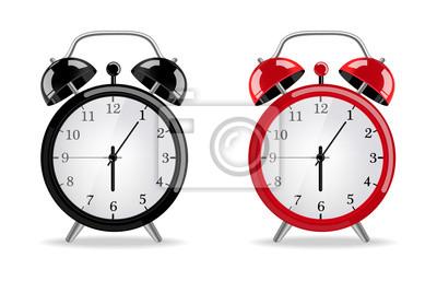 Naklejka Budzik Wektor realistyczny. Czerwone i czarne zegary na białym tle