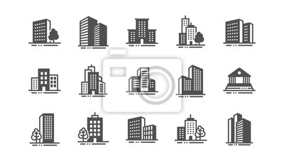 Naklejka Buildings icons. Bank, Hotel, Courthouse. City, Real estate, Architecture buildings icons. Hospital, town house, museum. Urban architecture, city skyscraper. Classic set. Quality set. Vector