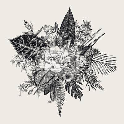 Bukiet egzotycznych kwiatów. Archiwalne ilustracji wektorowych. Czarny i biały