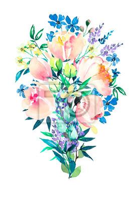 Bukiet kwiatów niebieski i różowy. Akwarela.