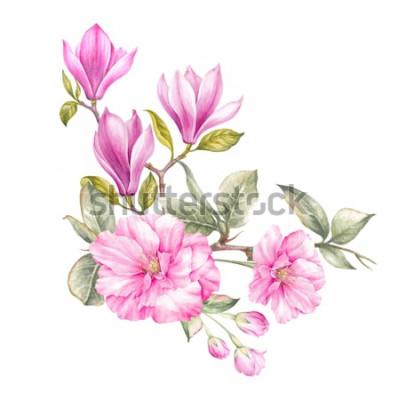 Naklejka Bukiet magnolii. Karta zaproszenie na ślub, urodziny i inne tło wakacje i lato. Ilustracja botaniczna.