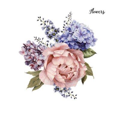 Naklejka Bukiet róż, akwarela, mogą być używane jako karty okolicznościowe, karty zaproszenie na ślub, urodziny i inne wakacje i letnie tle.