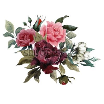 Naklejka Bukiet róż, piwonii i eustoma, akwarela, może służyć jako kartka z życzeniami, karta zaproszenie na ślub, urodziny i inne tło wakacje i lato