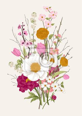Bukiet. Wiosenne kwiaty i gałązka. Piwonie, Spirea, kwiat wiśni, dereń. Vintage ilustracji botanicznych. Kolorowy