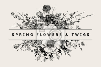 Bukiet. Wiosenne kwiaty i gałązki. Piwonie, Spirea, kwiat wiśni, dereń. Vintage ilustracji botanicznych. Czarny i biały
