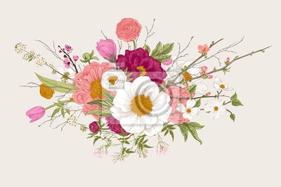 Bukiet. Wiosenne kwiaty i gałązki. Piwonie, Spirea, kwiat wiśni, dereń. Vintage ilustracji botanicznych. Kolorowy