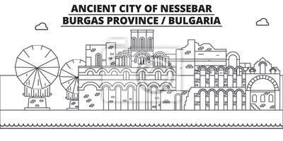 Naklejka Bułgaria - Burgas, Nessebar podróż słynną panoramę, wektor panorama. Bułgaria - Burgas, Nessebar ilustracja liniowa
